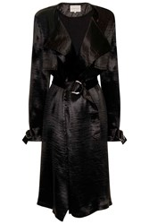 Black Satin Trench Coat With D Ring Detail And Collarless Neckline By Lavish Alice