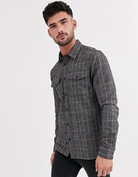 Burton Menswear Shirt In Grey Check