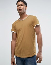 Esprit Longline T Shirt With Double Hem And Curve Bottom Camel White Beige