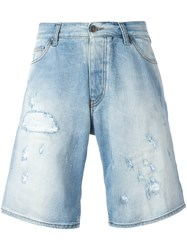 Armani Jeans Distressed Long Denim Shorts Men Cotton Spandex Elastane 54 Blue