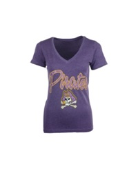Royce Apparel Inc Women's Short Sleeve East Carolina Pirates V Neck T Shirt Purple