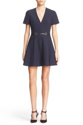 Cinq A Sept Viper Belted V Neck Fit And Flare Dress Blue