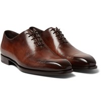 Berluti Alessandro Capri Burnished Venezia Leather Whole Cut Oxfords Brown