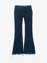 Marques Almeida Frayed Flared Cropped Jeans Indigo Denim