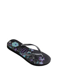 Havaianas Slim Organic Rubber Thong Sandals Black