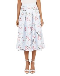 Ted Baker Floral Printed Midi Skirt Light Gray