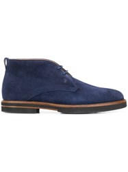 Tod's Lace Up Ankle Boots Blue