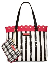 Betsey Johnson Scallop Trim Tote With Pouch Fushia