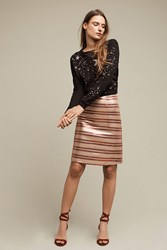 Anthropologie Sequin Striped Pencil Skirt Red Motif