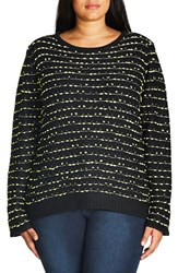 City Chic Plus Size Women's Back Zip Color Pop Sweater
