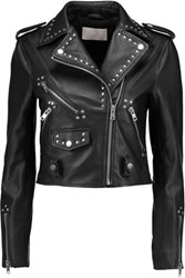 W118 By Walter Baker Erica Studded Leather Biker Dresses Black