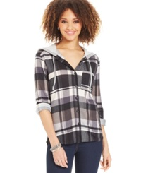Project 28 Juniors' Hooded Flannel Shirt Grey Black