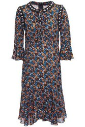 Anna Sui Woman Ruffled Embellished Floral Print Crepe De Chine Dress Black