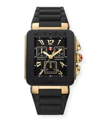 Michele 33Mm Park Jelly Bean Watch W Silicone Strap Black