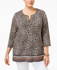 Jm Collection Plus Size Animal Print Toggle Tunic Leopard Grid