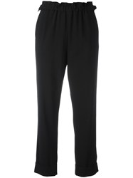 Giorgio Armani Elasticated Hem Cropped Trousers Black