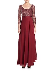 Kay Unger Sequined Three Quarter Sleeve Chiffon Gown Wine