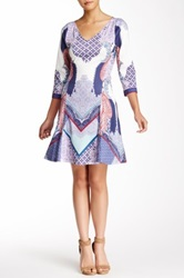 Hale Bob Printed V Neck Dress Blue