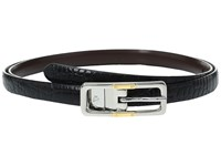 Lauren Ralph Lauren Croc To Smooth Reversible Belt With Two Tone Buckle Black Dark Brown Women's Belts