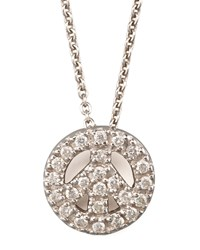 Pave Peace Sign Necklace Roberto Coin White Gold