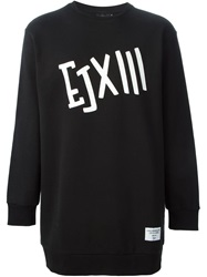 Ejxiii Printed Oversized Sweatshirt Black