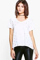 Boohoo Molly Burnout Foil Palm Print T Shirt White