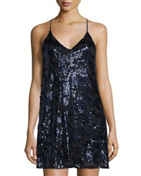Romeo And Juliet Couture Sequined Mesh Shift Dress Black Metallic