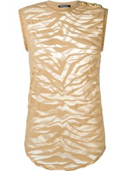 Balmain Sheer Zebra Tank Top Nude And Neutrals