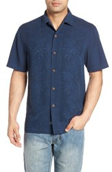 Tommy Bahama Men's Pacific Standard Fit Floral Silk Camp Shirt Navy