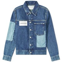 Calvin Klein Patched Denim Jacket Blue