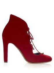 Tabitha Simmons Aubrey Velvet Lace Up Pumps Red
