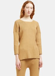Lauren Manoogian Ribbed Knit Side Slit Sweater Brown