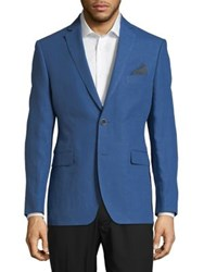 Black Brown Linen Slim Fit Sportcoat Blue