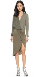 Shades Of Grey By Micah Cohen Crossover Sarong Dress Sage