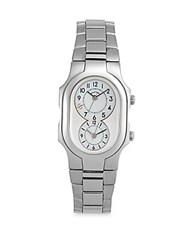 Philip Stein Teslar Rectangular Mother Of Pearl Band Watch Stainless Steel