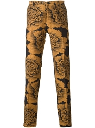 Christian Pellizzari Floral Jacquard Trousers Brown