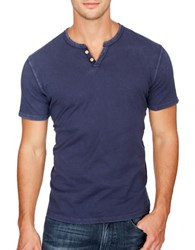 Lucky Brand Short Sleeve Cotton Henley American Navy