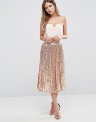 Tfnc Pleated Midi Skirt In All Over Sequin Rose Gold