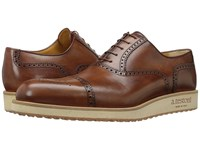 A. Testoni Antiqued Medallion Toe Sneaker Caramel Men's Lace Up Wing Tip Shoes Brown