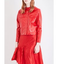 Marques Almeida Collarless Faux Patent Jacket Red