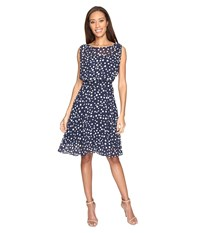 Adrianna Papell Printed Dot Fit And Flare Dress With Blouson Bodice Navy Ivory Women's Dress Blue