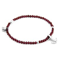 Anchor And Crew Red Garnet Tropic Silver Stone Bracelet Red Silver