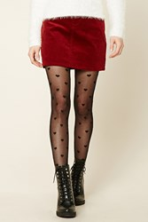 Forever 21 Heart Print Tights Black