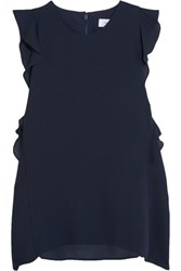 Carven Ruffled Crepe Top Midnight Blue