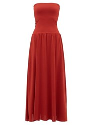 Eres Oda Strapless Jersey Dress Red