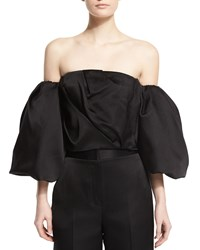 The Row Amilli Off The Shoulder Satin Crop Top Black Size 18