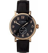 Links Of London Greenwich Rose Gold Plated Watch Brown Black