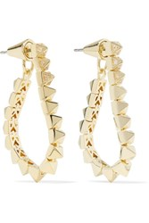 Eddie Borgo Tennis Link Gold Plated Crystal Earrings One Size
