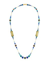 Jose And Maria Barrera Long Decoupage Necklace W Agate Beads Blue
