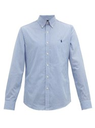 Polo Ralph Lauren Logo Embroidered Striped Slim Fit Cotton Shirt Blue White
